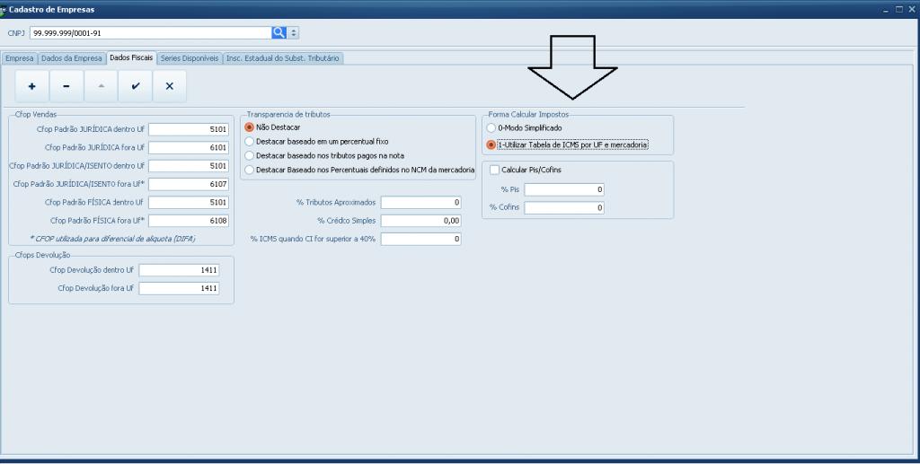 Emissão de Nota Fiscal Eletrônica com Substituição Tributária - habilitar tabela de icms por uf e mercadoria