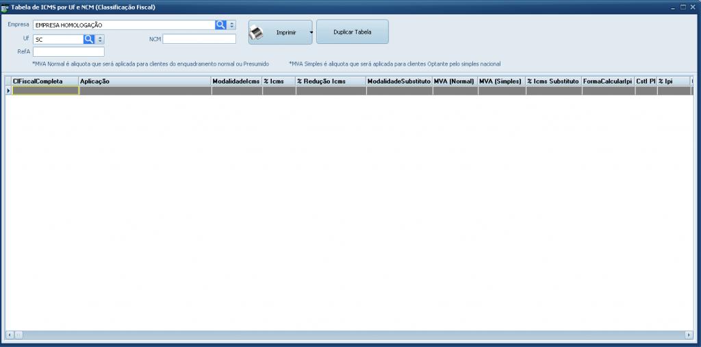 Emissão de Nota Fiscal Eletrônica com Substituição Tributária - tabela de icms por uf e mercadoria