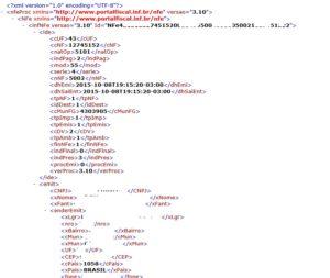 XML Nota Eletrônica Exemplo